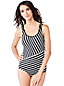 Women's Regular Tugless Shelf Bra Striped Swimsuit