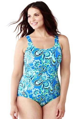 Paisley Komfort-Badeanzug mit Softcup-BH in Plusgröße