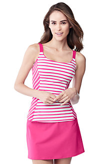 Women's Bias Cut Striped Scoop Neck Tankini Top