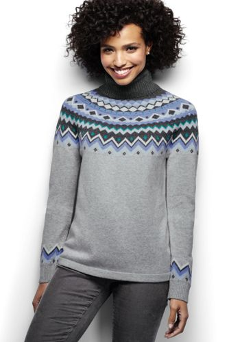 Women's Regular Merino Blend Fair Isle Roll Neck
