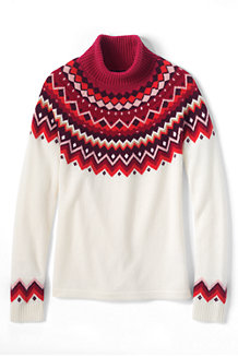 Women's Merino Blend Fair Isle Roll Neck