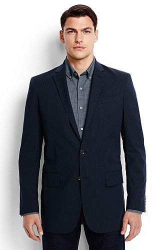 Lands' End Stretch Seersucker Sport Coat 467960