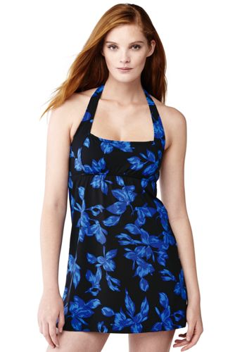 Women's Regular Beach Living Blossom Print Swim Dresskini Top
