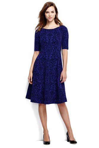 Women's Regular Ponte Jersey Damask Boatneck Dress