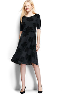 Women's Ponte Jersey Damask Boatneck Dress