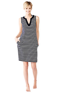 Women's Striped Sleeveless Tunic Cover-Up