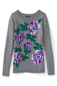 Women's Petite Cotton Intarsia Sweater