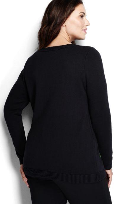 Women's Plus Size Cotton Intarsia Sweater