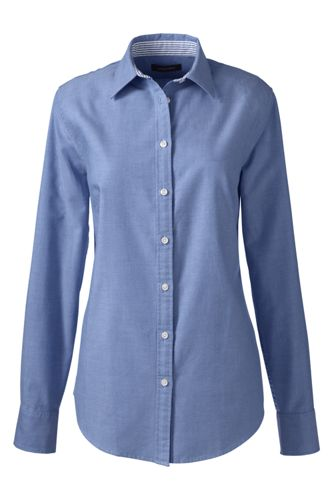 Women's Regular Plain Washed Oxford Cotton Shirt