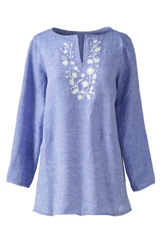 Women's Plus Embroidered Linen Tunic