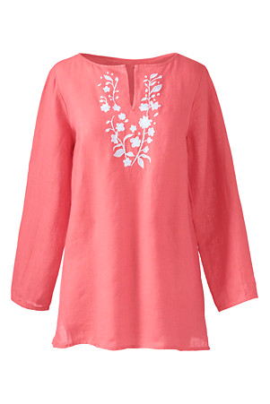 746c1bb555c Women's Embroidered Linen Tunic | Lands' End