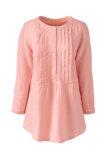 Women's Linen Three-quarter Sleeve Pintuck Blouse