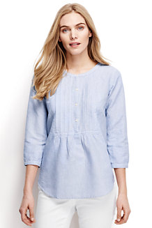 Women's Linen Three-quarter Sleeved Patterned Pleated Blouse