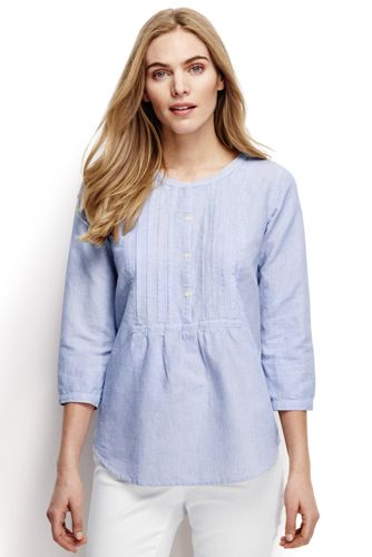 Women's Regular Linen Three-quarter Sleeved Patterned Pleated Blouse