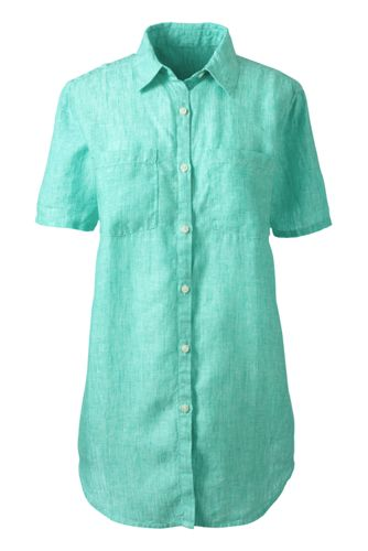 Women's Regular Short Sleeve Plain Linen Shirt