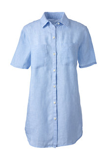 Women's Short Sleeve Plain Linen Shirt