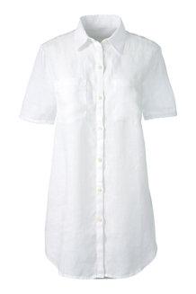 Women's Short Sleeve Plain Linen Shirt