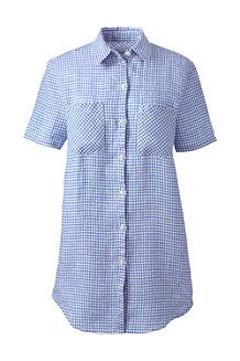 Women's Short Sleeve Patterned Linen Shirt