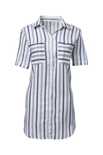 Women's Plus Short Sleeve Patterned Linen Shirt