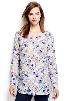 Women's Long Sleeve Collarless Patterned Linen Tunic