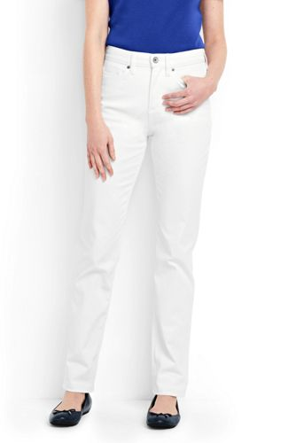 Womens Petite White High Waisted Jeans Straight Leg - 8 30 - WHITE Lands End