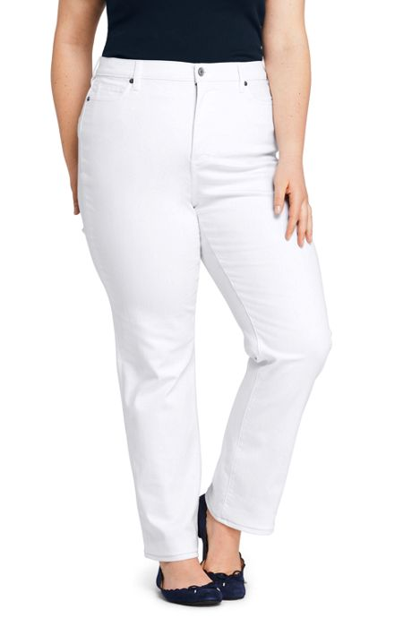 Women's Plus Size High Rise Straight Leg Jeans - Stain Repellent