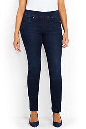 Women's Plus Size Mid Rise Pull-on Skinny Jeans-Deep Sea Indigo