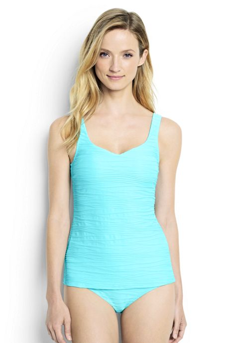 Women's D-Cup Texture Sweetheart Tankini Swimsuit Top