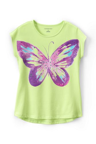 Little Girls' Embellished Dolman Short Sleeve Graphic Tee