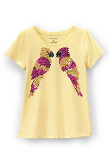 Girls' Scalloped Edge Embellished Graphic Tee
