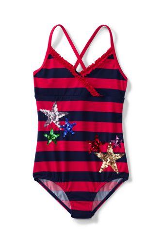 Little Girls' Coastal Spirit Stars & Stripes Ruffle Swimsuit