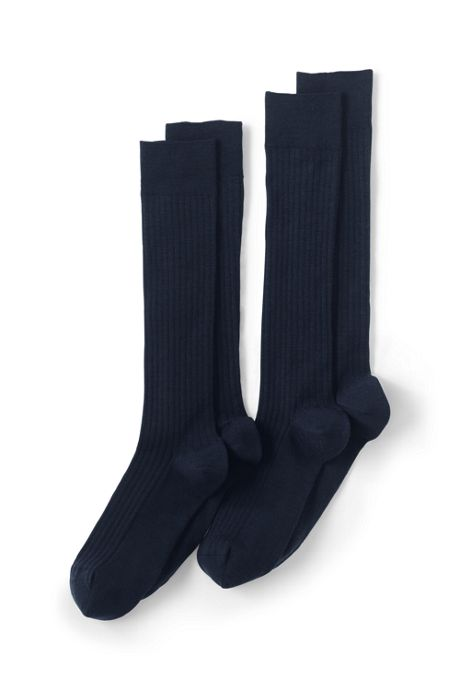 Men's Seamless Toe Over The Calf Wool Rib Dress Socks (2-pack)