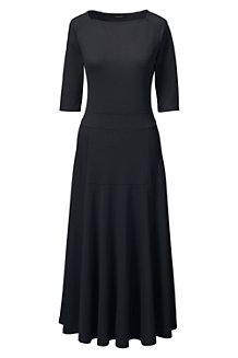 Women's Elbow Sleeve Ponte Jersey Panelled Dress