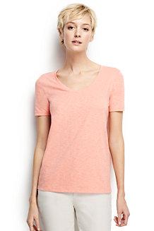 Baumwoll/Viskose-Shirt mit V-Ausschnitt