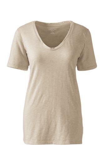 Women's Petite Soft Slub Jersey V-Neck T-shirt