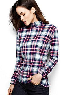 Women's Long Sleeve Plaid Cotton Interlock Polo Neck