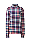 Women's Petite Long Sleeve Plaid Cotton Interlock Polo Neck