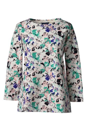 Le Pullover French Terry Manches 3/4 à motifs Femme, Stature Standard