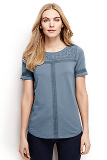 Women's Cotton/Modal Boatneck Lace Tee
