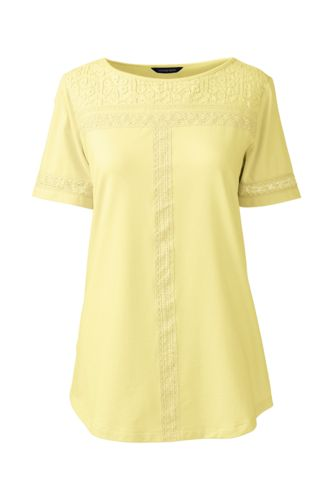 Women's Regular Cotton/Modal Boatneck Lace Tee