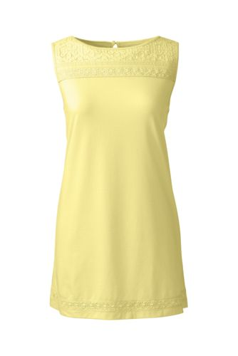 Women's Regular Cotton/Modal Sleeveless Lace T-shirt