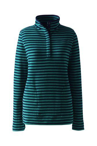 Gestreifter Stretchfleece-Pullover mit Druckknopf-Kragen in Petite-Größe