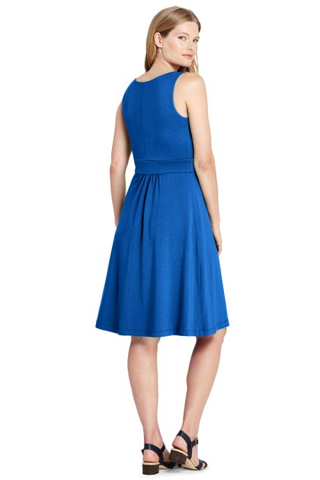 Women's Banded Waist Fit and Flare Dress Knee Length