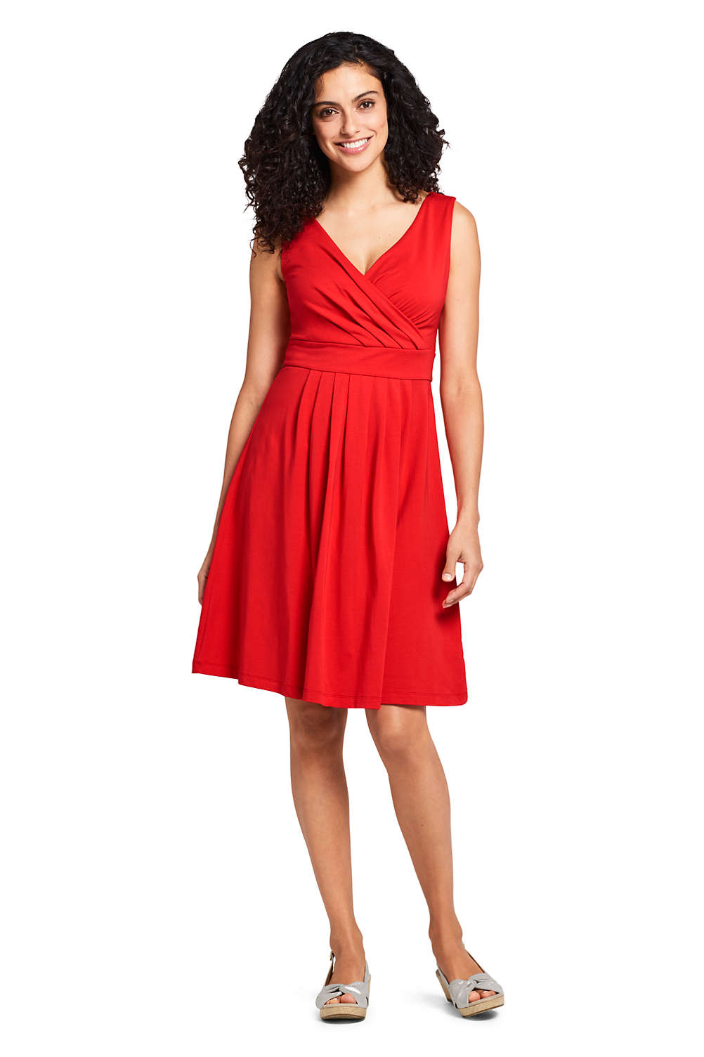 5f521ff566dc Women's Banded Waist Fit and Flare Dress Knee Length from Lands' End