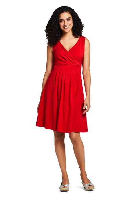 Women's Tall Banded Waist Fit and Flare Dress Knee Length