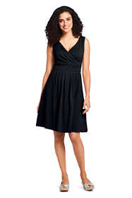 Women's Petite Banded Waist Fit and Flare Dress Knee Length