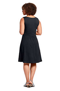 Women's Plus Size Banded Waist Fit and Flare Dress Knee Length, Back