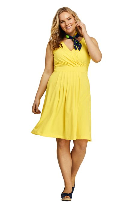 0583177ee2 Women s Plus Size Banded Waist Fit and Flare Dress Knee Length ...