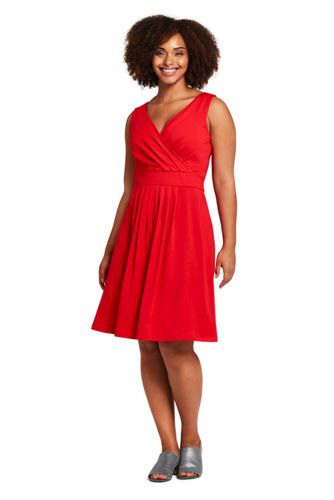 5036283e71b Women s Plus Size Banded Waist Fit and Flare Dress Knee Length