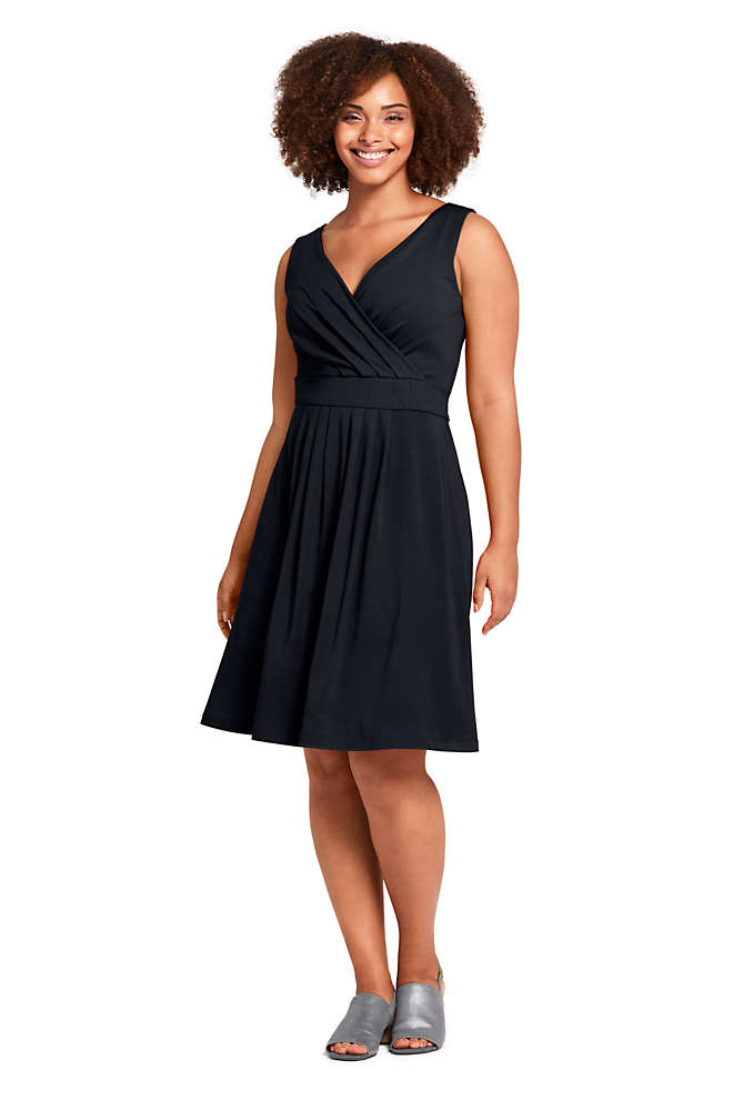 Women's Plus Size Banded Waist Fit and Flare Dress Knee Length, Front